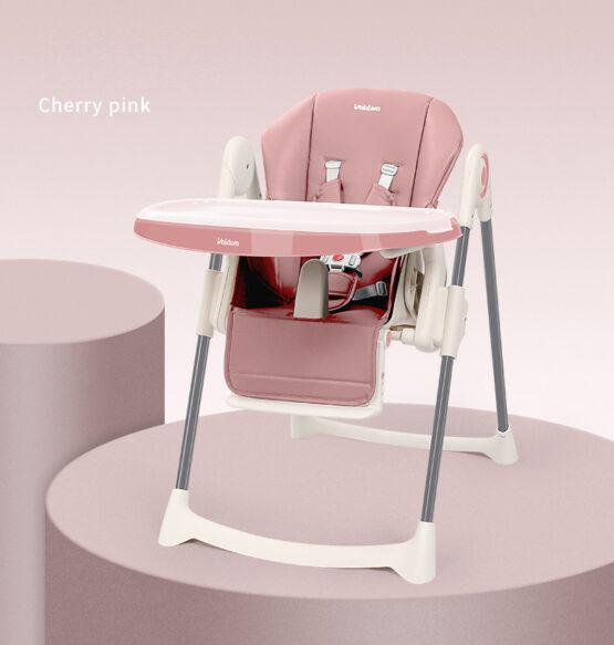 Стульчик для кормления из эко кожи Valdera (Cherry Pink)